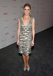 Julie Bowen shined in a beaded v-neck shift dress with cap sleeves for the LACMA Art and Film Gala.