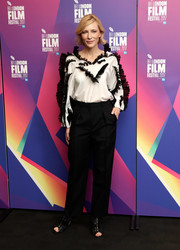Cate Blanchett went the frilly route in this white Givenchy blouse with black ruffle trim when she attended LFF Connects at the BFI London Film Festival.