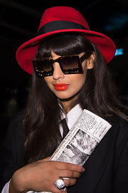 Jameela Jamil rocked a pair of quirky square tortoiseshell sunglasses front row at the Felder Felder show during London Fashion Week.