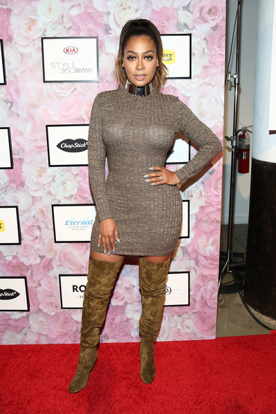 La La Anthony Over the Knee Boots [serena williams signature statement collection,clothing,red carpet,carpet,shoulder,dress,fashion,tights,joint,pink,flooring,la la anthony,front row,metropolitan west,new york city,hsn,style360 fashion week]