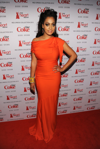 La La Anthony Off-the-Shoulder Dress