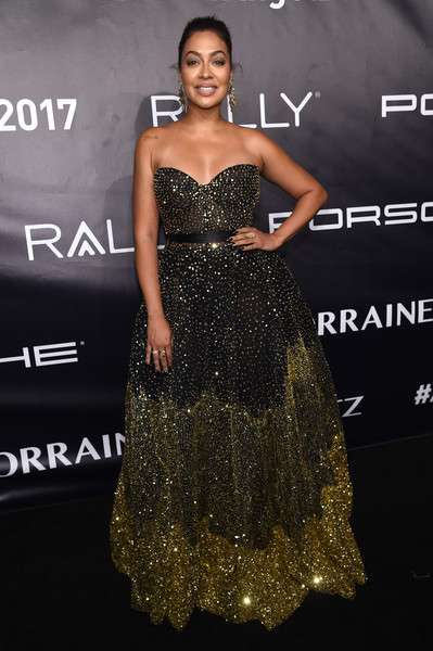La La Anthony Strapless Dress [gabrielle,la la anthony,dress,clothing,fashion model,shoulder,strapless dress,hairstyle,gown,fashion,cocktail dress,carpet,new york city,cipriani wall street,arrivals,angel foundations angel ball 2017]