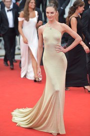 Candice Swanepoel worked her supermodel figure in a slinky champagne one-shoulder gown by Etro at the 2019 Venice Film Festival opening ceremony.