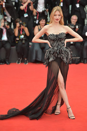 Martha Hunt rocked a strapless Alberta Ferretti gown with a flowing sheer skirt at the 2019 Venice Film Festival opening ceremony.