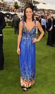 Natalie showed off her floral printed maci dress while attending ladies day at Glorious Goodwood.