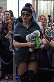 Lady Gaga attended a meet-and-greet in Perth, Australia wearing a pair of oval sunglasses by MCM.