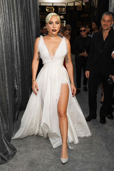 Lady Gaga Evening Dress [red carpet,fashion model,dress,clothing,gown,shoulder,fashion,haute couture,hairstyle,lady,carpet,lady gaga,screen actors guild awards,screen actors\u00e2 guild awards,california,los angeles,the shrine auditorium]