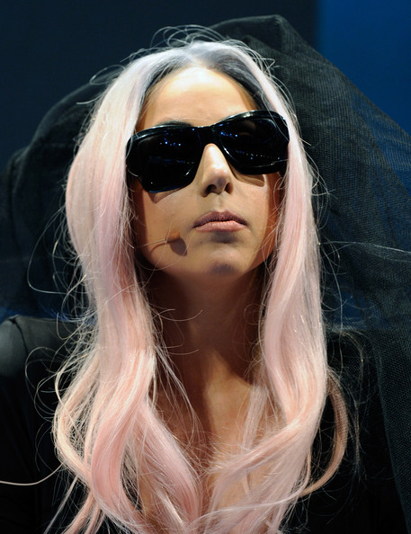 Lady Gaga Long Wavy Cut [consumer electronics show showcases latest technology innovations,eyewear,nose,vision care,lip,glasses,hairstyle,sunglasses,goggles,long hair,cool,camera,products,printer,glasses,lady gaga,director,world,polaroid grey label,international consumer electronics show,lady gaga,hair,pop music,born this way,getty images,2011,alejandro,musician]
