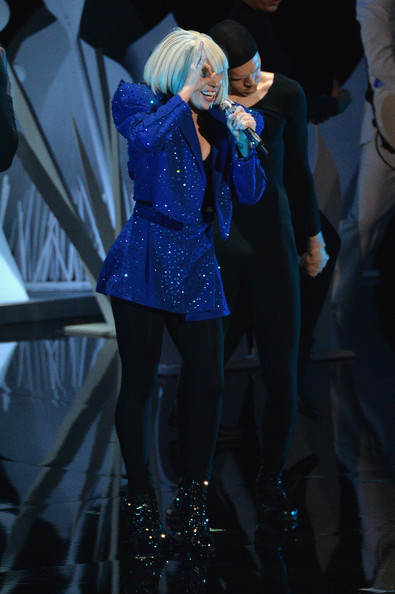 Lady Gaga Skirt Suit [performance,fashion,performing arts,electric blue,stage,event,leg,costume,fashion design,singing,lady gaga,2013 mtv video music awards,borough,barclays center,brooklyn,new york city,pre-show]