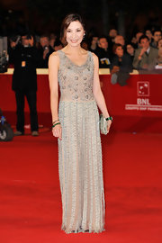 Michelle Yeoh donned a floor-sweeping beaded dress for the Rome International Film Festival. The sparkling frock was form the designer's Resort 2012 collection.