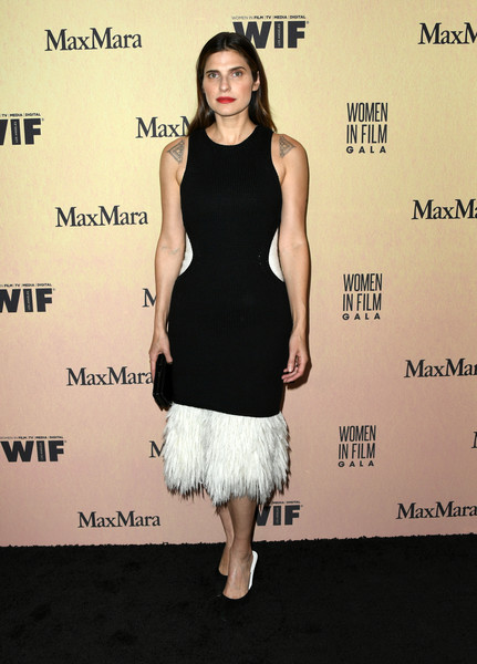 Lake Bell Cocktail Dress [women in film annual gala 2019,arrivals,lake bell,cocktail dress,dress,clothing,fashion model,little black dress,shoulder,fashion,premiere,footwear,joint,beverly hills,california,the beverly hilton hotel,max mara]