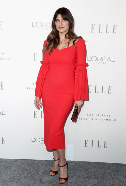 Lake Bell Form-Fitting Dress [elle,fashion model,dress,flooring,shoulder,joint,cocktail dress,catwalk,carpet,fashion,fashion show,los angeles,four seasons hotel,california,beverly hills,24th annual women in hollywood celebration - arrivals,24th annual women in hollywood celebration,lake bell]
