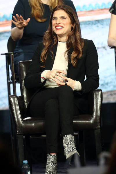 Lake Bell Pantsuit [television show,bless this mess,hair,hairstyle,beauty,footwear,sitting,fashion,long hair,tights,leg,lip,lake bell,pasadena,california,the langham huntington,winter tca,abc,segment,winter television critics association press tour]