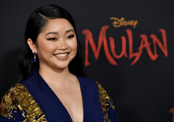 Lana Condor Dangling Gemstone Earrings [mulan,smile,black hair,arrivals,lana condor,niki caro,film director,action,california,los angeles,disney,premiere,niki caro,mulan,li shang,the walt disney company,live action,walt disney studios,walt disney pictures,film director]
