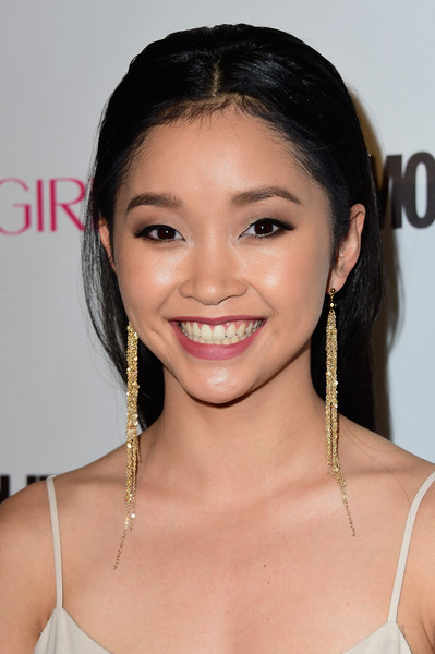 Lana Condor Gold Dangle Earrings [hair,eyebrow,face,hairstyle,chin,forehead,skin,shoulder,beauty,lip,lana condor,ysabel,west hollywood,california,cosmopolitan,red carpet,birthday celebration]