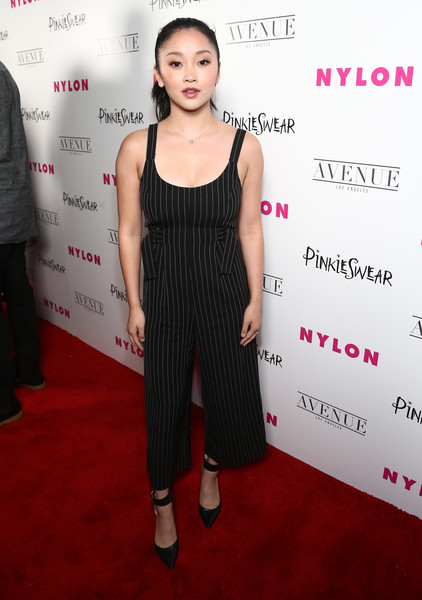 Lana Condor Jumpsuit [clothing,red carpet,dress,carpet,shoulder,premiere,fashion,flooring,cocktail dress,event,lana condor,avenue los angeles,hollywood,california,nylon,young hollywood party,lana condor,to all the boys ive loved before,lara jean,celebrity,red carpet,actor,united states,premiere,romance]