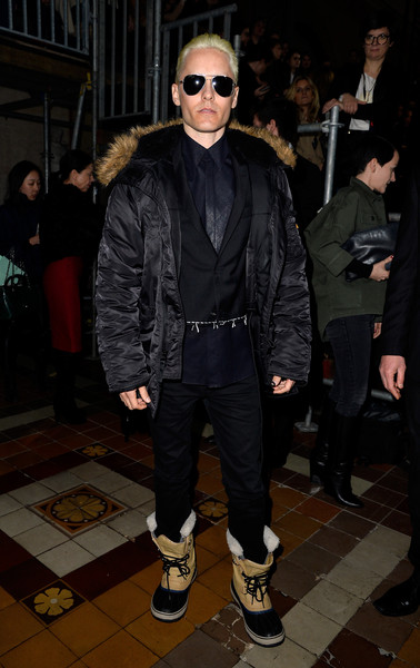 Jared Leto completed his outfit with a pair of black jeans.