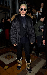 Jared Leto snuggled up in a fur-trimmed down jacket for the Lanvin fashion show.