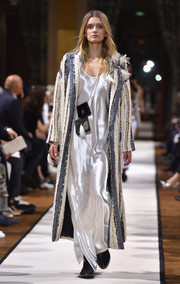 Lily Donaldson walked the Lanvin runway wearing a fluid white maxi dress.