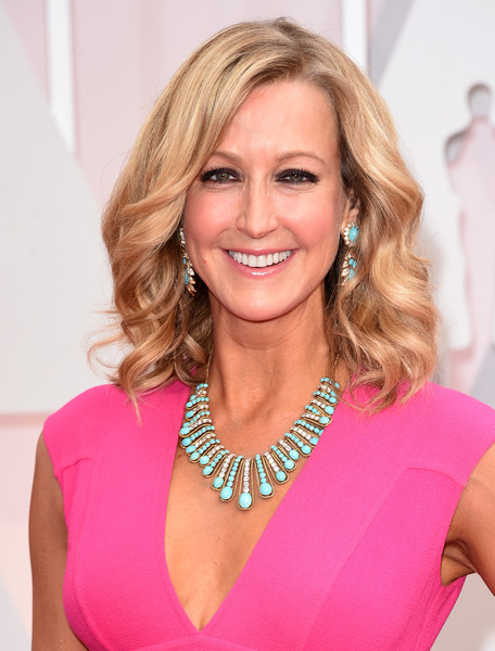 Lara Spencer Turquoise Necklace [hair,blond,beauty,human hair color,pink,hairstyle,chin,shoulder,fashion model,long hair,arrivals,lara spencer,academy awards,hollywood highland center,california,87th annual academy awards]