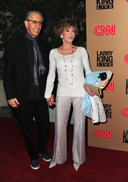 Jane wears a pair of elegant brocade evening pants for the red carpet.