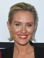 Nicky Whelan sported a slicked-back hairstyle at the Last Chance for Animals benefit.