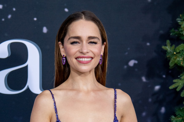Emilia Clarke went for a simple straight, center-parted 'do at the New York premiere of 'Last Christmas.'