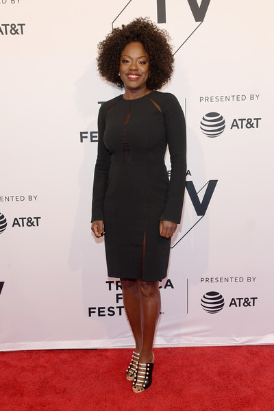 Viola Davis styled her dress with strappy black-and-white mules.