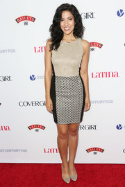 Stephanie Beatriz went for a modern vibe in a nude and black mini dress with a patterned skirt during the Hollywood Hot List party.