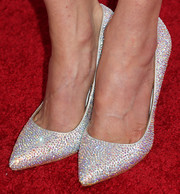 Charlene Amoia attended the Hollywood Hot List party wearing a super-chic pair of bedazzled white pumps.