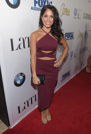 Valery Ortiz's sexy cutout dress featured a halter top neckline.