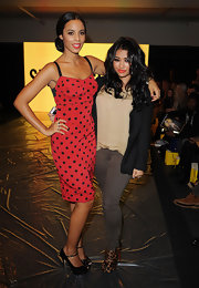 Rochelle Wiseman was retro fab in a flirty red corset dress with black polka dots.