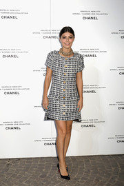 Alessandra Mastronardi kept it classy in a monochrome tweed dress with gold buttons at the launch of Lucia Pica's Spring 2018 makeup collection.