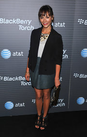 Rashida Jones showed off her bronze and ivory statement necklace while hitting the Blackberry Torch party.