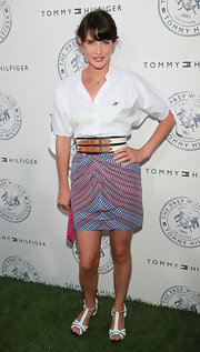 Cobie Smulders was the picture of preppiness when she sported a classic white button down and a patterned skirt.