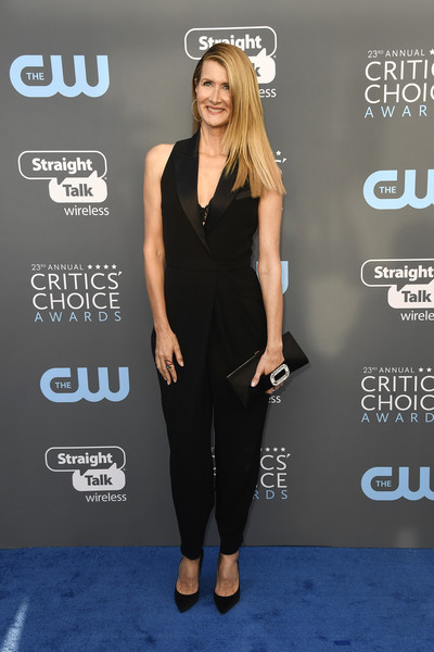 Laura Dern Satin Clutch [little black dress,flooring,fashion model,shoulder,carpet,formal wear,premiere,red carpet,arrivals,laura dern,santa monica,california,barker hangar,annual critics choice awards]