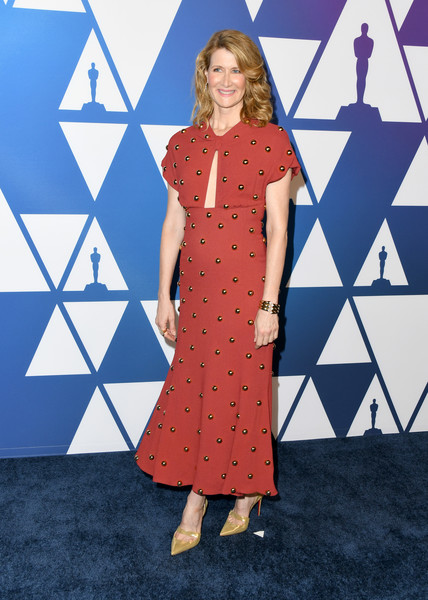 Laura Dern Evening Pumps [clothing,pattern,blue,dress,fashion,polka dot,design,day dress,flooring,arrivals,nominees,laura dern,the beverly hilton hotel,beverly hills,california,oscars,oscars nominees luncheon]