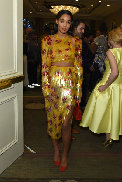 Laura Harrier Pumps [fashion,clothing,fashion model,yellow,haute couture,fashion show,fashion design,dress,runway,event,laura harrier,tea party,los angeles,four seasons hotel,beverly hills,california,bbca bafta,bbca bafta tea party]