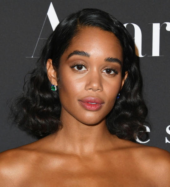 Laura Harrier Medium Curls [hair,face,eyebrow,hairstyle,lip,forehead,chin,skin,black hair,nose,arrivals,laura harrier,instyle awards,the getty center,los angeles,california]