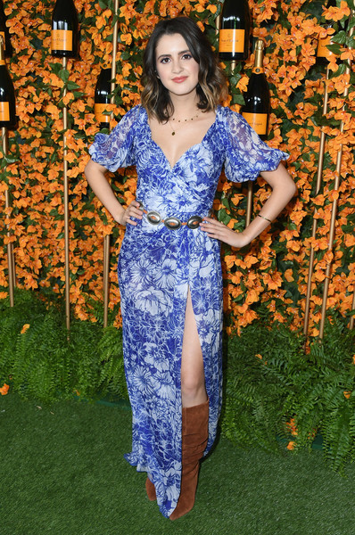 Laura Marano Knee High Boots [clothing,blue,fashion,cobalt blue,dress,electric blue,lady,shoulder,long hair,spring,arrivals,laura marano,los angeles,pacific palisades,california,will rogers state historic park,veuve clicquot polo classic]