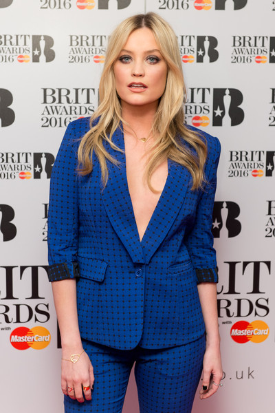 Laura Whitmore Gold Bracelet [clothing,cobalt blue,electric blue,suit,hairstyle,premiere,outerwear,carpet,long hair,formal wear,laura whitmore,nominations,england,london,itv studios,brit awards,launch]
