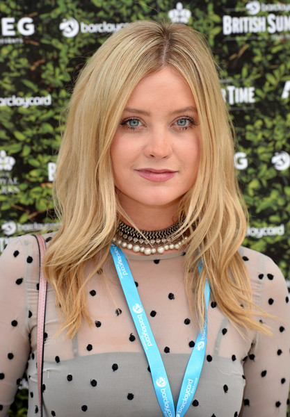 Laura Whitmore Pearl Choker [hair,face,blond,hairstyle,beauty,lip,polka dot,long hair,layered hair,hair coloring,tom petty and the heartbreakers,laura whitmore,british summer time,england,london,hyde park,barclaycard,barclaycard exclusive british summer time festival]