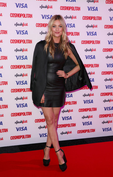 Laura Whitmore Leather Dress [cosmopolitan fashfest: catwalk to cosmopolitan fashion show,clothing,carpet,red carpet,premiere,event,flooring,dress,laura whitmore,part,catwalk,london,england,red carpet arrivals,cosmopolitan,fashion show,cosmopolitan fashfest]