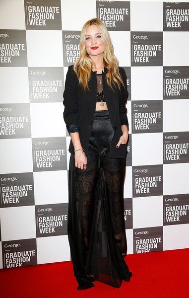 Laura Whitmore Sheer Skirt [red carpet,carpet,clothing,flooring,fashion,premiere,suit,footwear,long hair,outerwear,london,england,the old truman brewery,graduate fashion week,laura whitmore]
