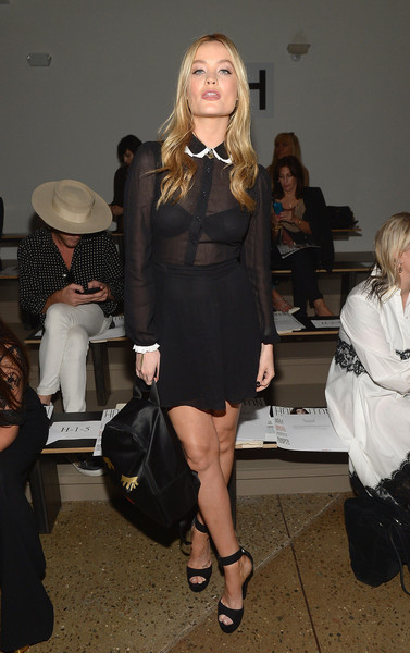 Laura Whitmore Platform Sandals [houghton spring 2016 runway show,clothing,fashion,fashion model,little black dress,fashion show,leg,dress,blond,fashion design,haute couture,laura whitmore,new york city,milk studios]