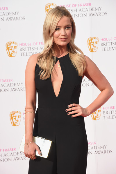 Laura Whitmore Dark Nail Polish [clothing,dress,little black dress,cocktail dress,neck,hairstyle,blond,fashion,shoulder,long hair,laura whitmore,england,london,royal festival hall,house of fraser,british academy television awards]