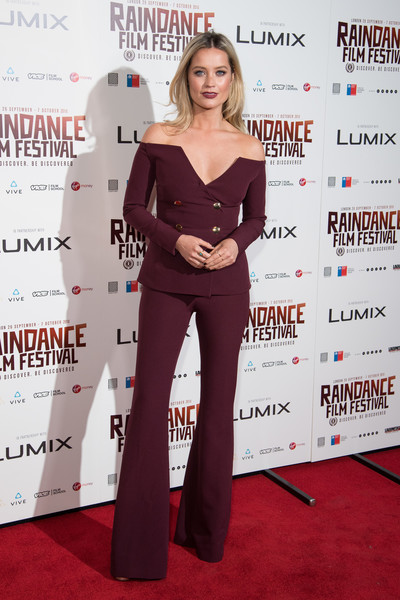 Laura Whitmore Pantsuit [red carpet,carpet,clothing,red,premiere,hairstyle,flooring,fashion,dress,shoulder,laura whitmore,vue west end,london,england,raindance,gala,raindance opening gala 2018]