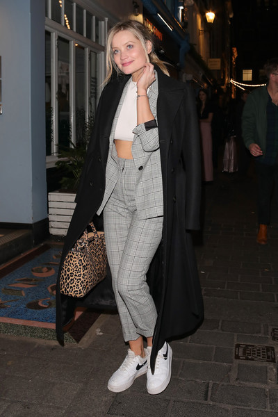 Laura Whitmore Pantsuit [clothing,street fashion,outerwear,fashion,snapshot,trench coat,coat,tights,footwear,shoe,court members club,party,the court members club,kingly st,london,england,launch party,laura whitmore]