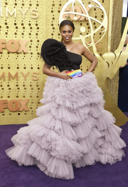 Laverne Cox One Shoulder Dress [dress,gown,white,clothing,shoulder,fashion,haute couture,beauty,lady,yellow,arrivals,laverne cox,emmy awards,microsoft theater,los angeles,california]