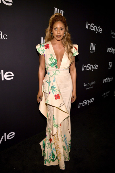 Laverne Cox Print Dress [red carpet,clothing,dress,fashion model,hairstyle,fashion,fashion design,carpet,cocktail dress,red carpet,shoulder,laverne cox,instyle awards,the getty center,los angeles,california]